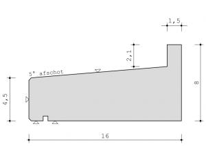Profiel standaard raamdorpel 16 x 8 cm