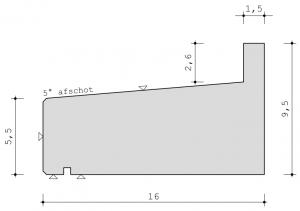 Profiel standaard raamdorpel 16 x 9,5 cm